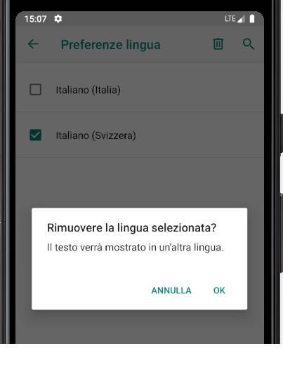 Conferma rimuovere le lingue Android