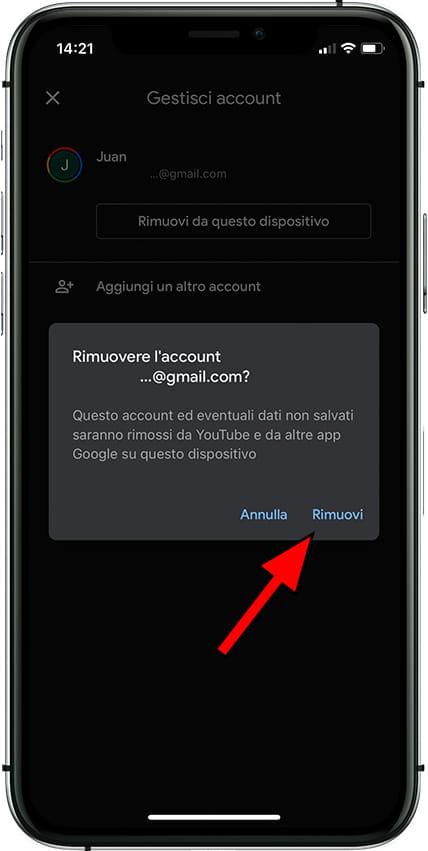 Conferma la rimozione dell'account Google da Apple iPhone 12