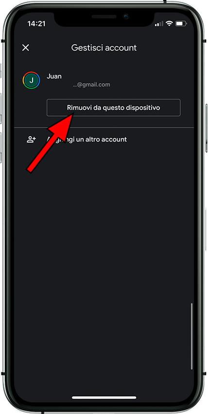 Rimuovere l'account Google da Apple iPhone 12
