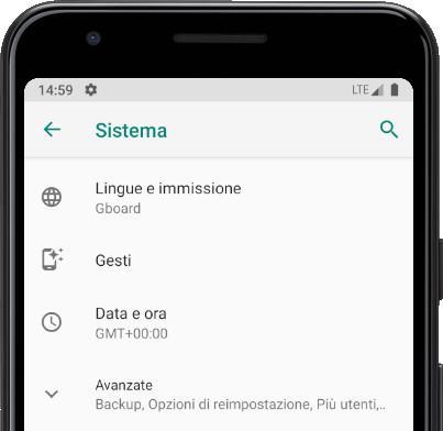 Lingue e immissione Android