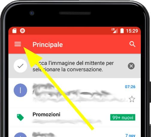 Menu principale Gmail